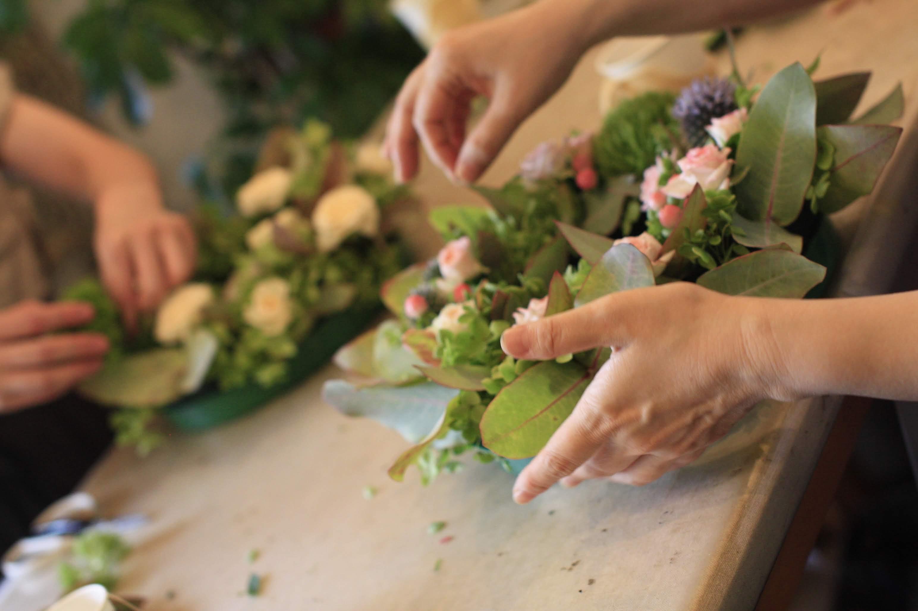 フリーレッスン リース 福岡市 花屋 ボヌールのフラワーアレンジ教室;